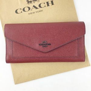 Coach Red Crossgrain Leather Wallet